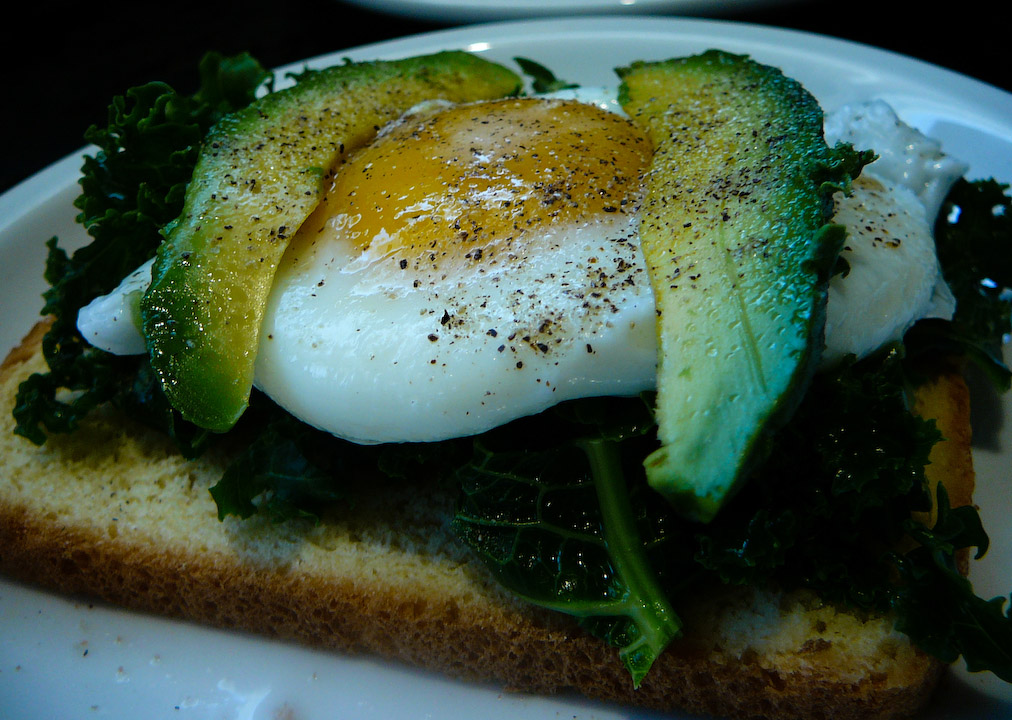 boiled kale breakfast served 2