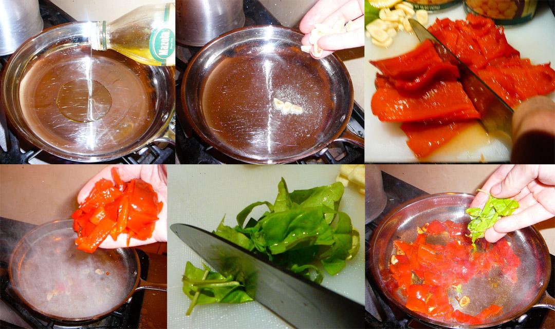 roasted red pepper hummus saute