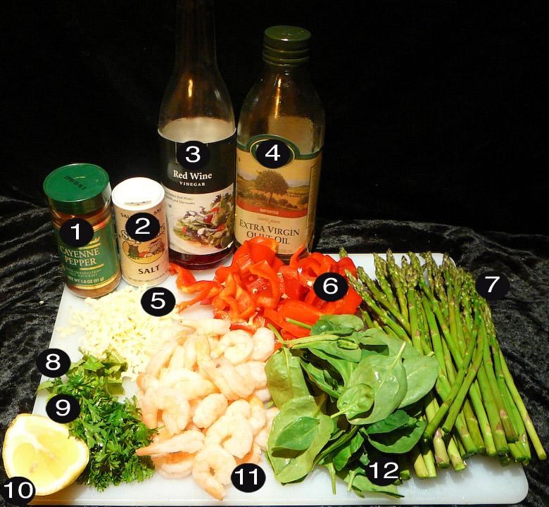 shrimp asparagus salad prep