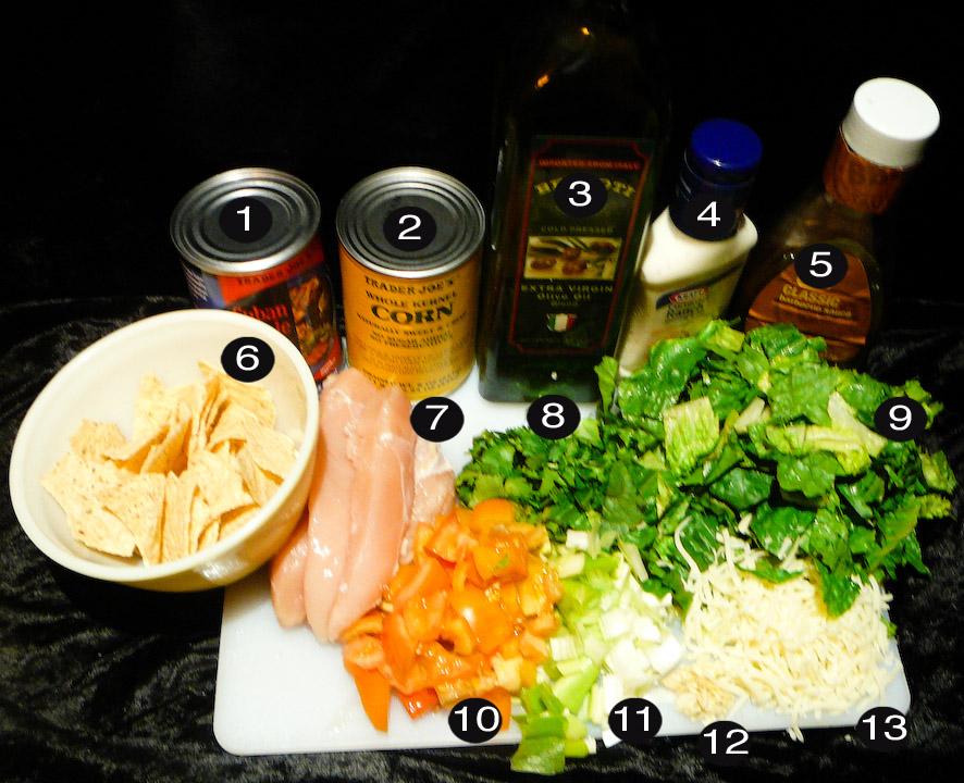 bbq chop chicken salad prep