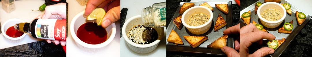 menage a tofu triangles sauce present