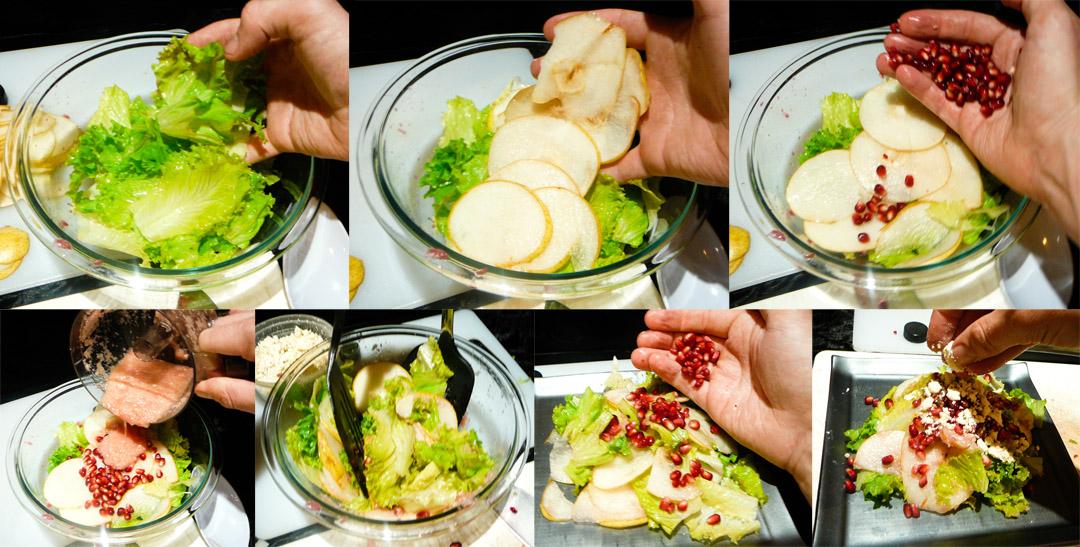 pomegranate feta pear salad assemble