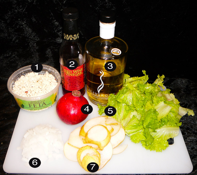 pomegranate feta pear salad prep