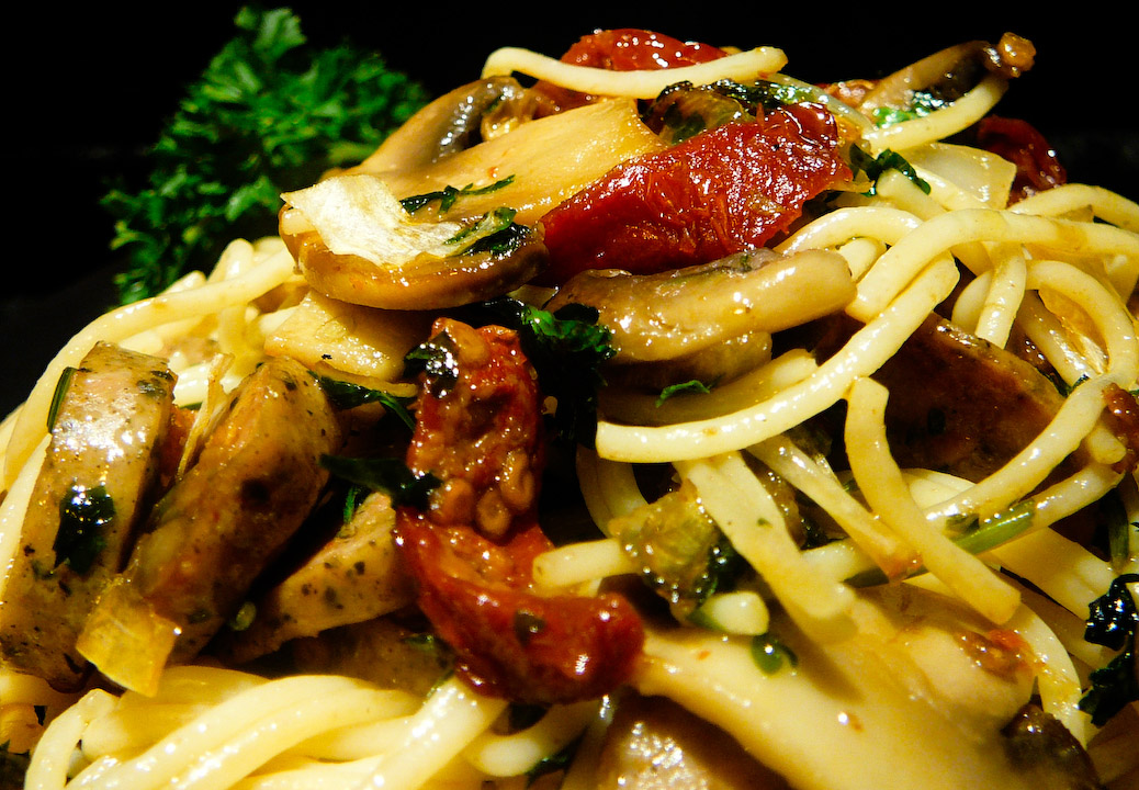 Enjoy this pasta responsibly by wearing at least SPF 15 when you bang outdoors.