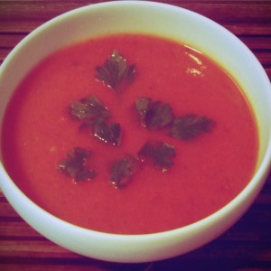 Red pepper and courgette soup