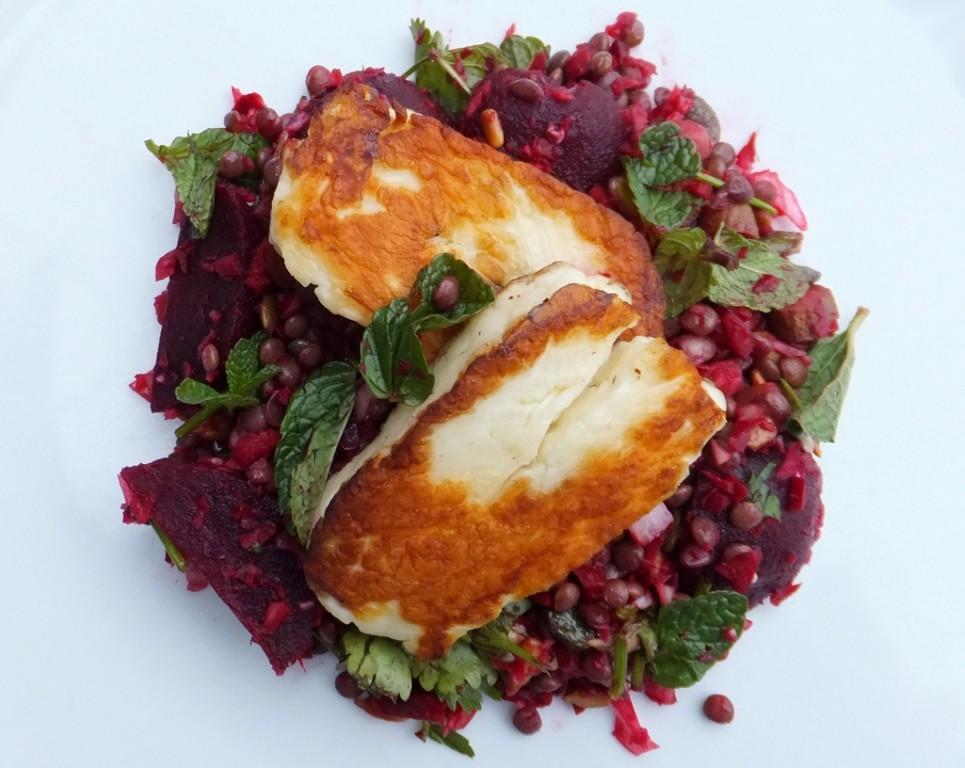 Roast beetroot, lentil and halloumi salad - CookTogether