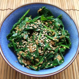 Spinach with sesame sauce