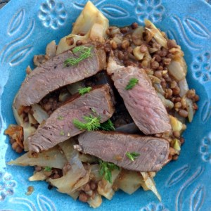 Steak with fennel and lentil