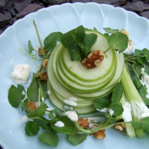 Waldorf salad with blue cheese dressing