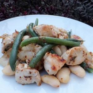 Warm chicken and bean salad
