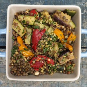 Roasted vegetables with lentils