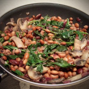 Sauteed mushroom, spinach and beans