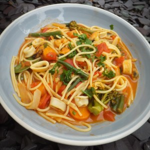 Seafood spaghetti with vegetables