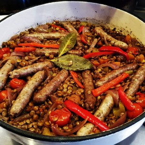Sausage and lentil one-pot