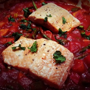 Wild salmon and vegetables stew