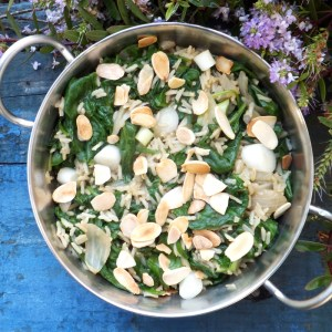 Spinach and almond pilaf
