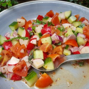 Radish, cucumber and tomato salsa