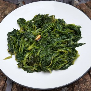 Spinach with garlic & chilli