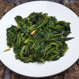 Spinach with garlic & chilli