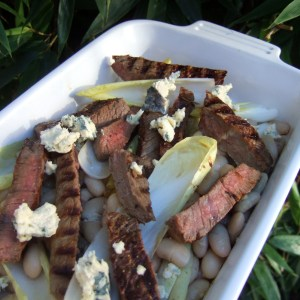 Steak with beans, Roquefort and chicory