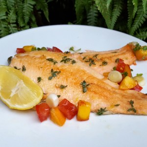 Lemon and thyme trout fillet
