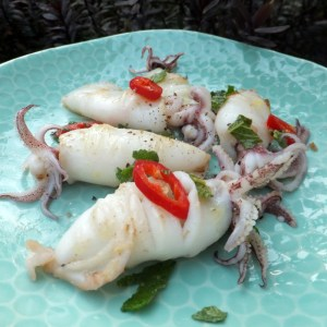 Squid with lemon and chilli