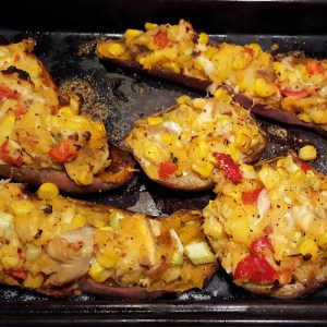 Mexican-style baked sweet potatoes