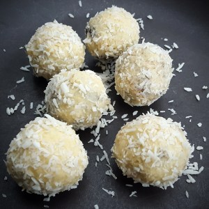 Cherry and coconut Christmas pud bonbons