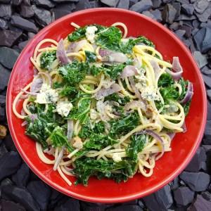 Stilton and kale spaghetti