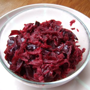 Braised red cabbage, beet and apple