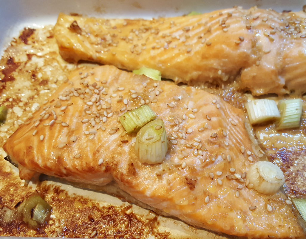 Soy baked trout fillets