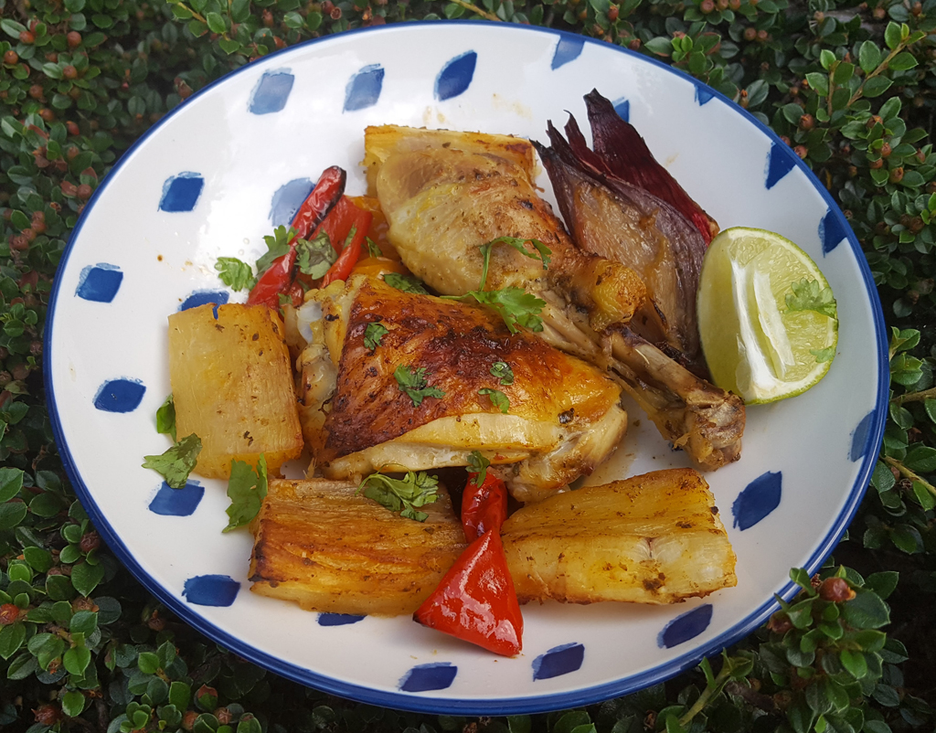 Baked chicken and cassava