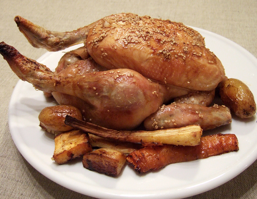Maple and sesame roast chicken