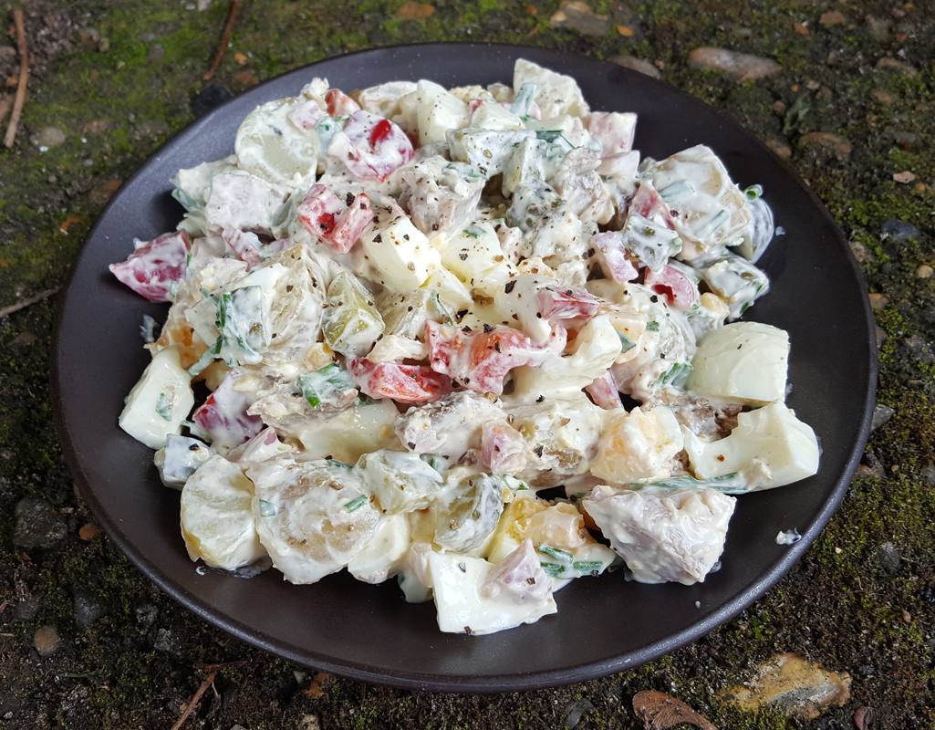 Potato and egg salad with pork