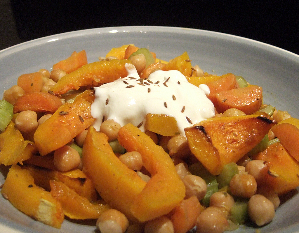 Roasted squash with chickpeas