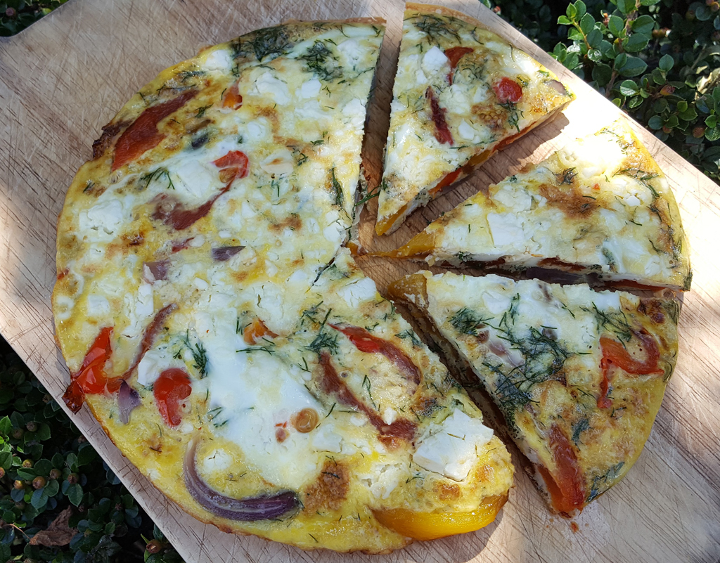 Grilled pepper & onion frittata with feta