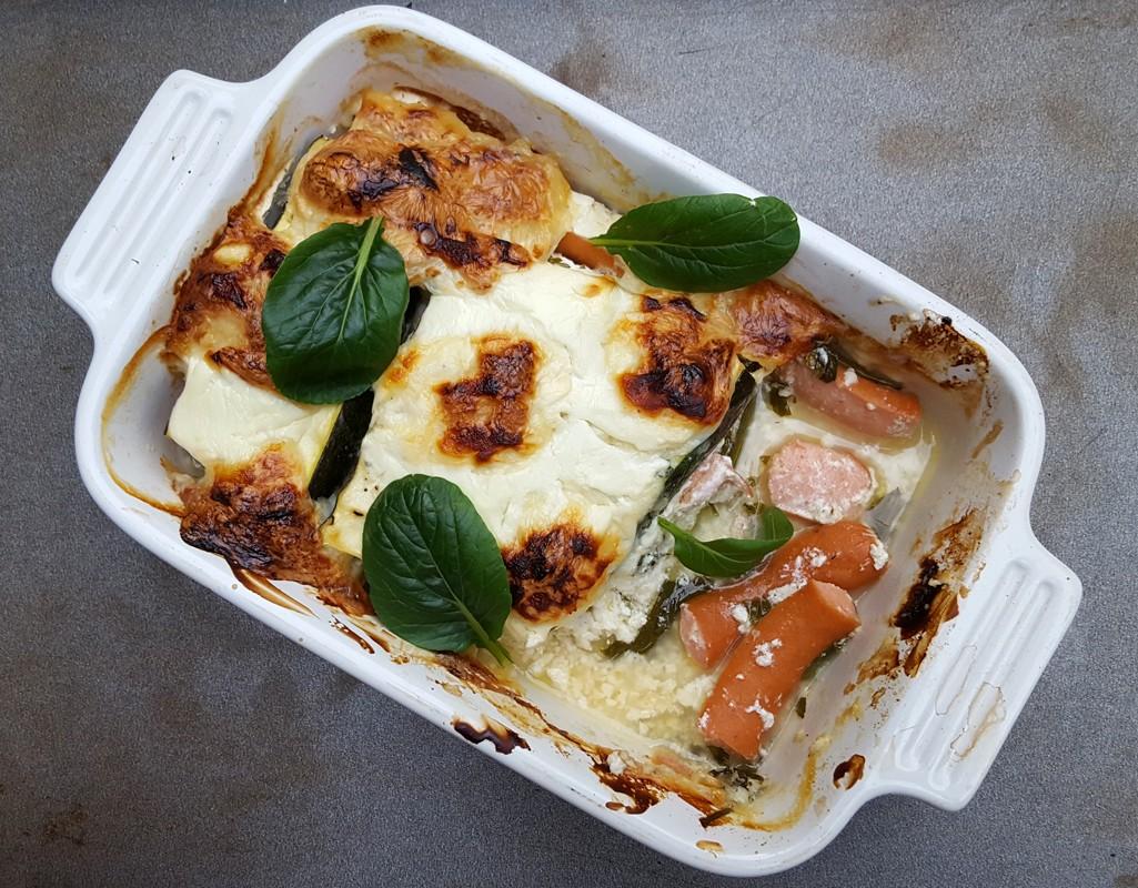 Courgette and frankfurter gratin