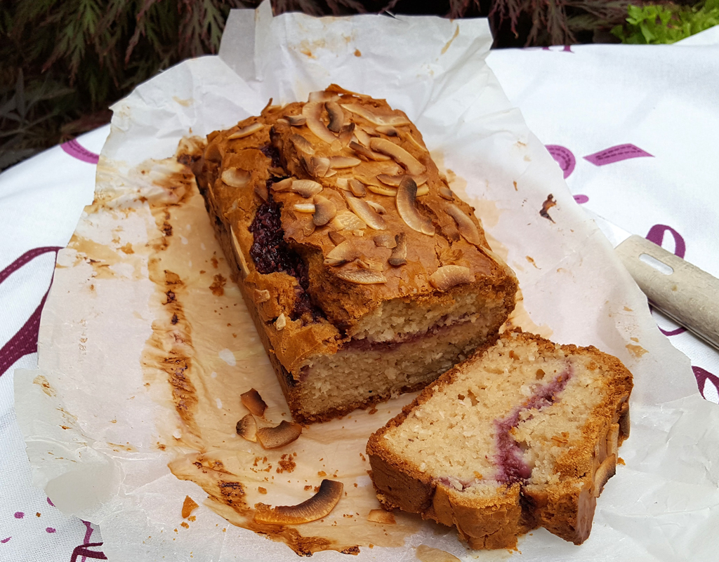 Raspberry and coconut yoghurt loaf