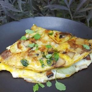 Mushroom, leek and mozzarella omelette