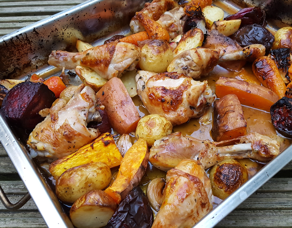 Chicken and root vegetables bake
