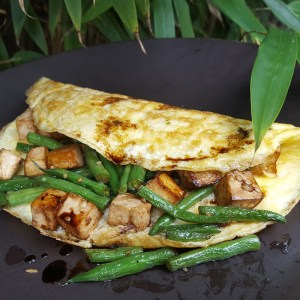 Tofu and green beans omelette
