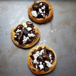 Caramelised onion and chestnut tarts