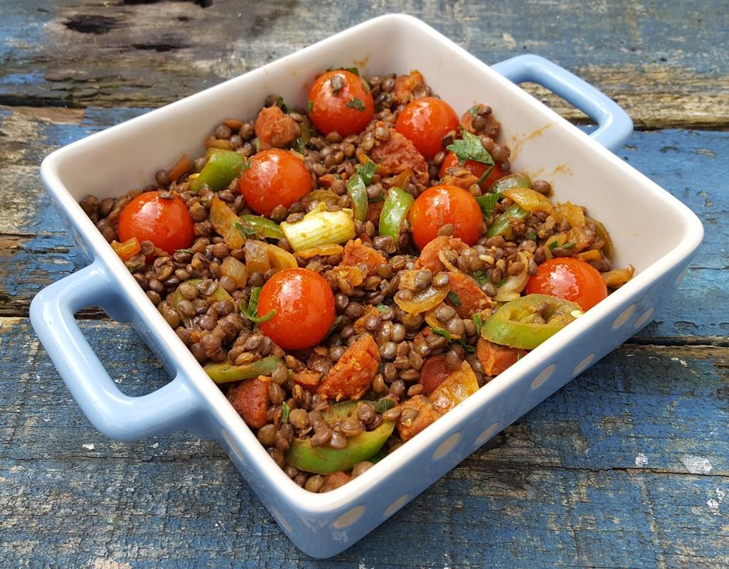 Spiced lentil and Chorizo salad
