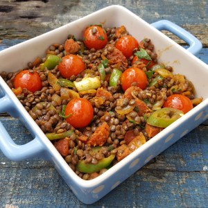 Spiced lentil and Chorizo salad