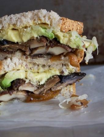 "German Style Vegan Mushroom ""bratwurst"" Sandwich"