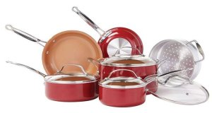 BulbHead (10824) Red Copper 10 PC Copper-Infused Cookware Set