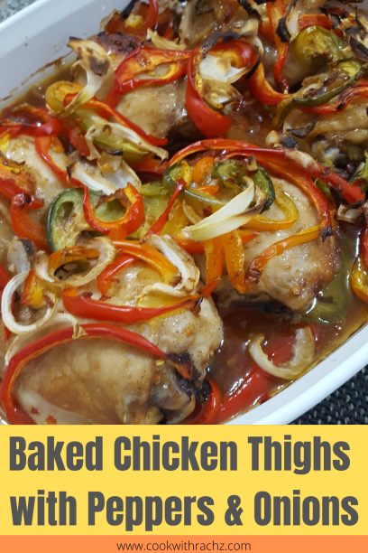 baked chicken thighs with peppers & onions Pinterest post