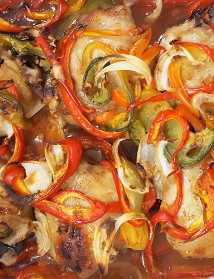 Baked Chicken Thighs with Peppers & Onions