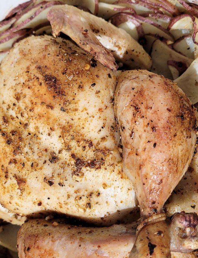 Whole Roast Chicken with Potatoes & Onions