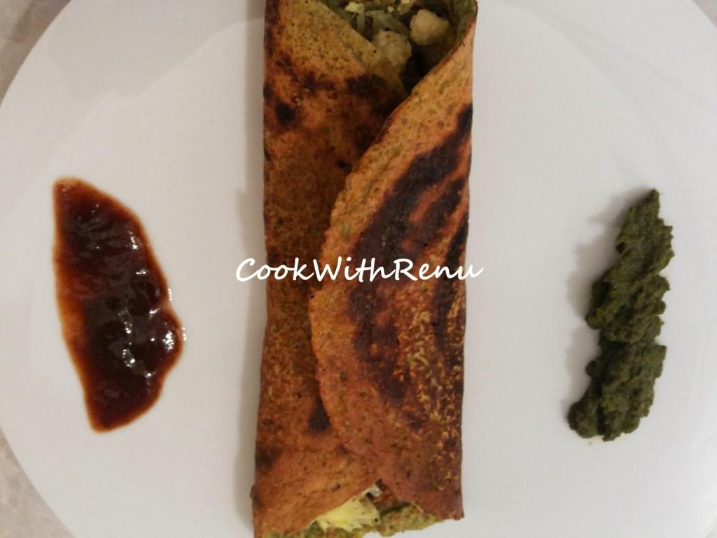 Mung Dal & Methi Chila Pancake (With Cabbage & Paneer Stuffing)